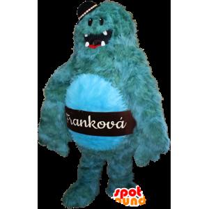 Mascotte mostro blu, peloso e divertente. mascotte Yeti - MASFR032369 - Mascotte di mostri