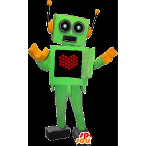 Mascot groene en gele robot met een hart op de buik - MASFR032370 - mascottes objecten