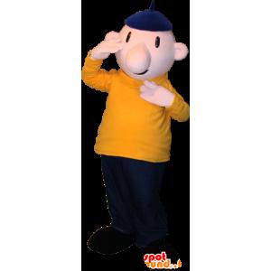 Mascot kale man met een baret en een kleurrijke outfit - MASFR032374 - man Mascottes
