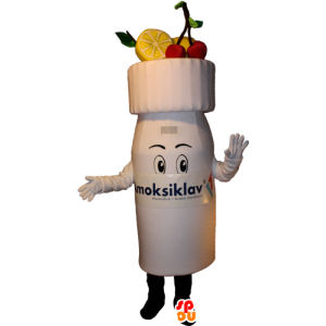 Yogurt mascot drinking, fruity drink - MASFR032377 - Fast food mascots