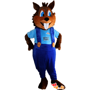 Of brown squirrel mascot with big teeth and overalls - MASFR032380 - Mascots squirrel