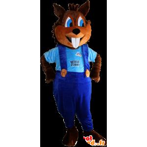 Brunt ekorn maskot med store tenner og overaller - MASFR032380 - Maskoter Squirrel