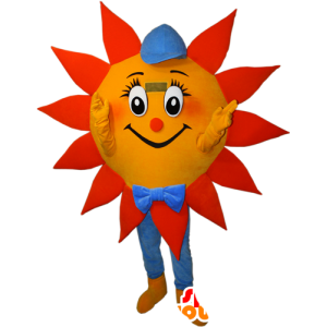 Oranssi aurinko maskotti, keltainen ja sininen korkilla - MASFR032382 - Mascottes non-classées