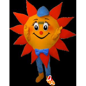 Sol mascote laranja, amarelo e azul com uma tampa - MASFR032382 - Mascotes não classificados