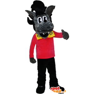 Mascot wolf gray and black with a rock hairstyle - MASFR032384 - Mascots Wolf