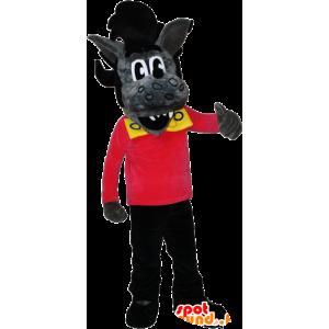 Mascotte lupo grigio e nero con un taglio di capelli roccia - MASFR032384 - Mascotte lupo