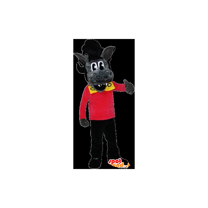 Mascot grijze en zwarte wolf met een rock kapsel - MASFR032384 - Wolf Mascottes