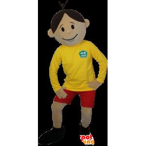 καφέ αγόρι μασκότ αθλητικών ειδών - MASFR032385 - σπορ μασκότ