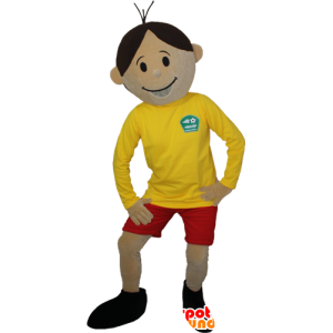 Brown boy mascot in sportswear - MASFR032385 - Sports mascot
