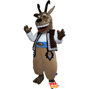 Mascotte capra, capra marrone con grandi corna
