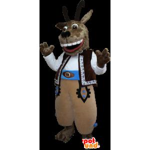 Geit mascotte, bruine geit met grote horens
