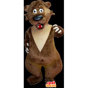Mascot castanho e beige suportar o ar medo - MASFR032387 - mascote do urso