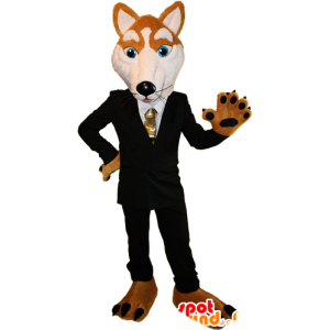 Mascota zorro naranja y blanco vestido con un traje negro - MASFR032388 - Mascotas Fox
