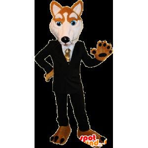 Orange and white fox mascot dressed in a black suit - MASFR032388 - Mascots Fox