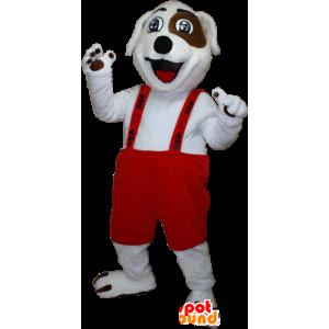 Valkoinen ja ruskea koira maskotti kanssa haalarit - MASFR032391 - koira Maskotteja
