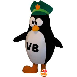 Blanco y negro de la mascota pingüino con un sombrero de tres picos - MASFR032392 - Mascotas de pingüino