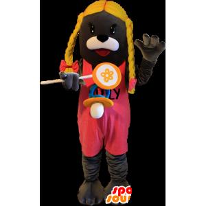 Mascot cinza leão de mar, lontra com tranças loiras