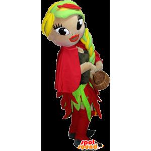 Mascotte de femme très coquette et colorée