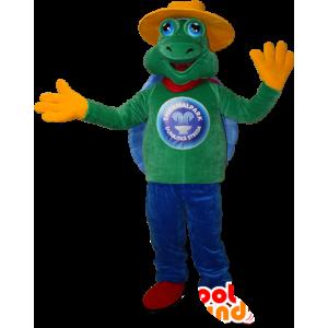 Mascotte de tortue verte et bleu avec un chapeau jaune - MASFR032399 - Mascottes Tortue