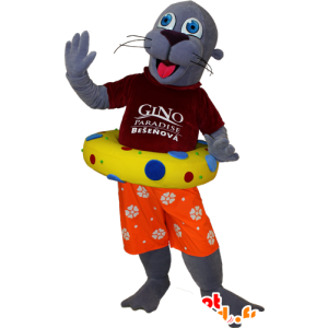 Sea Lion mascotte, grigio vacanziere lontra tenuto - MASFR032400 - Sigillo di mascotte