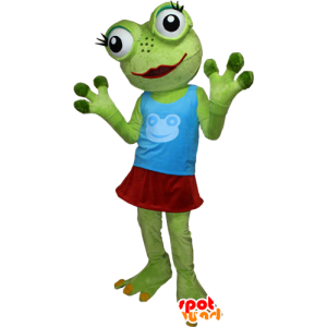 Mascot very funny green frog with big eyes - MASFR032405 - Mascots frog