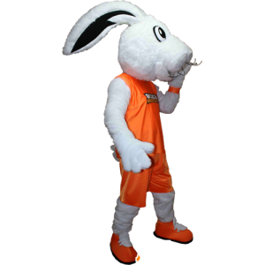 White bunny mascot dressed in a orange sportswear - MASFR032406 - Sports mascot