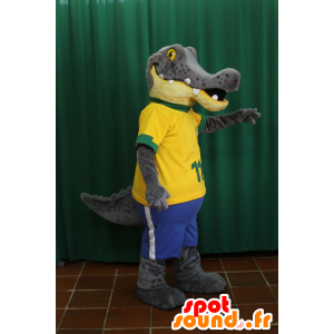 Krokodille maskot, grå og gul alligator