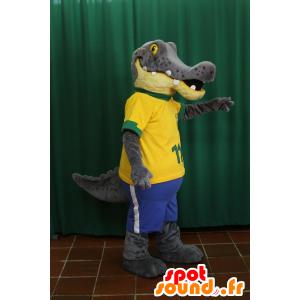 Krokotiili maskotti, harmaa ja keltainen alligaattori