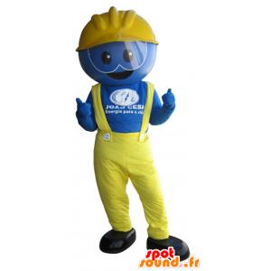 Mascot blau Mann, Arbeiter, in gelb gekleidet - MASFR032421 - Menschliche Maskottchen