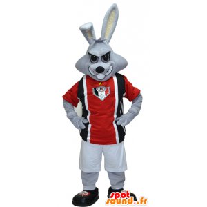 Gray rabbit mascot dressed in black and red sports - MASFR032423 - Sports mascot