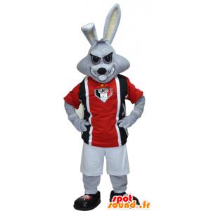 Mascote coelho cinzento vestido em esportes pretos e vermelhos - MASFR032423 - mascote esportes