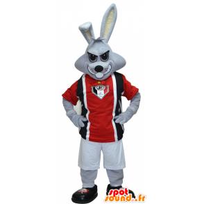 Mascotte de lapin gris en tenue de sport noire et rouge - MASFR032423 - Mascotte sportives