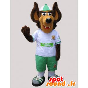 Mascota del lobo marrón y beige vestido de blanco y verde - MASFR032427 - Mascotas lobo