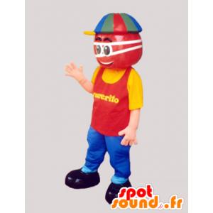 Mascotte de bonhomme rouge habillé d'une tenue très colorée - MASFR032428 - Mascottes Homme