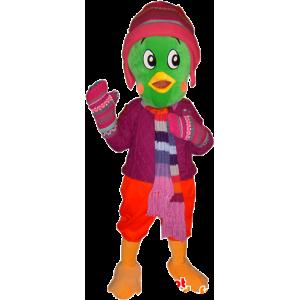 Maskotka zielony ptak, ubrany w strój zimowy - MASFR032433 - ptaki Mascot