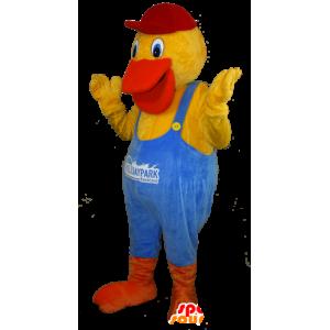 Mascotte de canard jaune et orange habillé d'une salopette bleue - MASFR032435 - Mascotte de canards