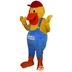 Yellow duck mascot dressed orange and blue overalls - MASFR032435 - Ducks mascot
