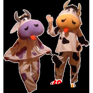2 mascotte mucche loro lingue - MASFR032445 - Mucca mascotte