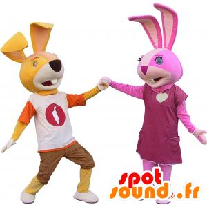 2 maskoter kaniner, en gul og en rosa - MASFR032448 - Mascot kaniner