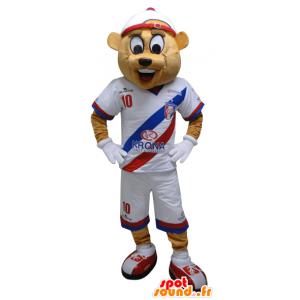 La mascota del oso de color beige en ropa deportiva. mascota de peluche - MASFR032449 - Mascota de deportes