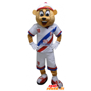 Mascot beige bear in sportswear. Teddy mascot - MASFR032449 - Sports mascot