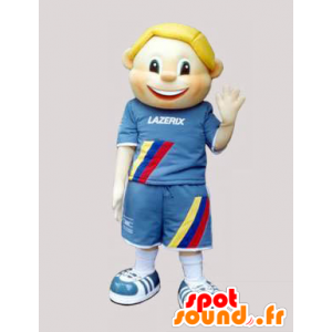 Mascotte d'enfant, de garçon blond habillé en bleu - MASFR032455 - Mascottes Enfant