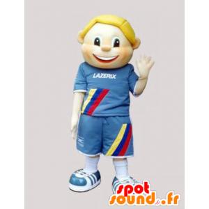 Loiro Mascot criança vestida de azul - MASFR032455 - mascotes criança