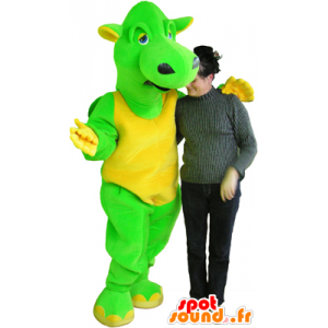 Green and yellow dragon mascot, giant and funny - MASFR032457 - Dragon mascot
