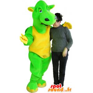 Mascotte de dragon vert et jaune, géant et drôle - MASFR032457 - Mascotte de dragon