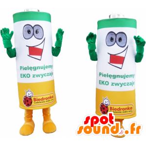 Batterien Mascots grün, gelb und weiß - MASFR032458 - Maskottchen von Objekten