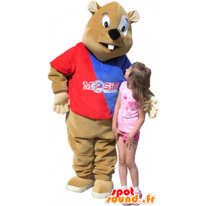 Brown beaver mascot with blue and red sweater