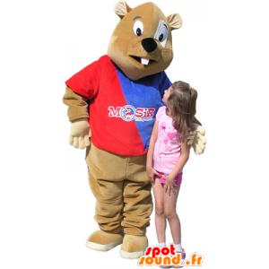 Mascotte castoro marrone con il maglione blu e rosso - MASFR032459 - Castori mascotte
