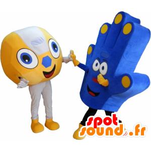 2 Maskottchen von Fans, einen Ball und eine Hand von Unterstützung - MASFR032461 - Sport-Maskottchen