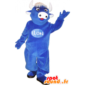 Blue Cow mascot with white hair and horns - MASFR032462 - Mascot cow